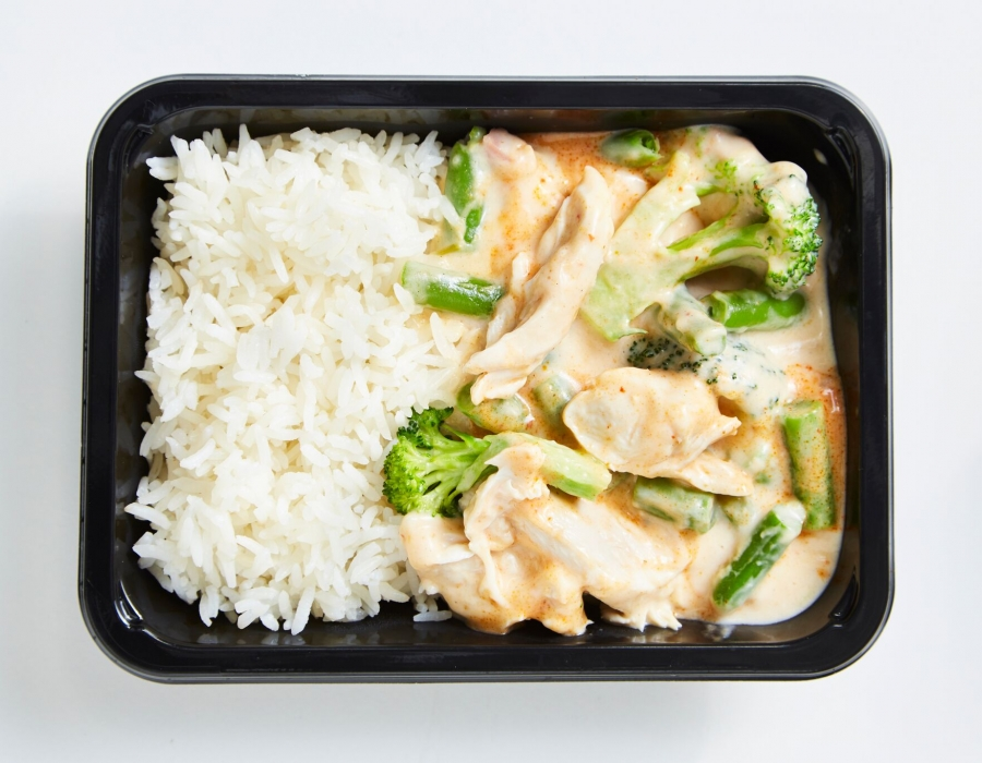 Coconut chicken curry with rice